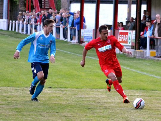 Ton Pentre (red) took on Penybont in their first ever game. Image courtesy of Ton Pentre FC.