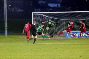 Chris Venables applies the finish on his 10th goal of the season (Credit: Nik Mesney, Connah's Quay).